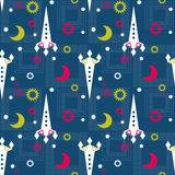 Seamless pattern of space and stars. Kid's childish background. Royalty Free Stock Photography