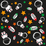 Seamless pattern with spaceships and astronauts Royalty Free Stock Photography