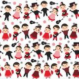 Seamless pattern Spanish flamenco dancer. Kawaii cute face pink cheeks winking eyes. Gipsy girl and boy, red black dress, polka do Stock Photo