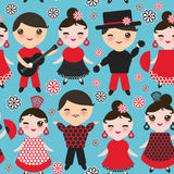 Seamless pattern Spanish flamenco dancer. Kawaii cute face with pink cheeks and winking eyes. Gipsy girl and boy, red black white Royalty Free Stock Photo