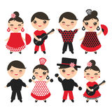 Seamless pattern Spanish flamenco dancer. Kawaii cute face with pink cheeks and winking eyes. Gipsy girl and boy, red black white Royalty Free Stock Image