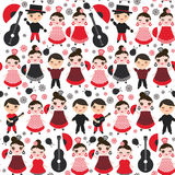 Seamless pattern Spanish flamenco dancer.. Seamless pattern Spanish flamenco dancer. Kawaii cute face with pink cheeks and winking eyes. Gipsy girl and boy Royalty Free Stock Image