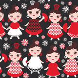 Seamless pattern spanish Woman flamenco dancer. Kawaii cute face with pink cheeks and winking eyes. Gipsy girl, red black white dr Royalty Free Stock Photography