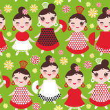 Seamless pattern spanish Woman flamenco dancer. Kawaii cute face with pink cheeks and winking eyes. Gipsy girl, red black white dr Royalty Free Stock Photos