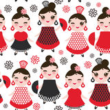 Seamless pattern spanish Woman flamenco dancer. Kawaii cute face with pink cheeks and winking eyes. Gipsy girl, red black white dr Stock Photo
