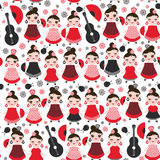 Seamless pattern spanish Woman flamenco dancer. Kawaii cute face with pink cheeks and winking eyes. Gipsy girl, red black white dr Stock Photography