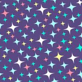 Seamless pattern with sparkles on purple background. Cartoon shine background. Abstract luster, chic and brilliancy backdrop. Illustration of night starry sky Stock Photography