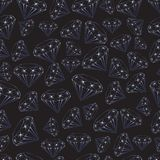 Seamless pattern of sparkling blue gems on a black background vector illustration