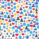 Seamless pattern with speech bubbles, likes, followers symbols. Beautiful vector flat design. Stock Photo