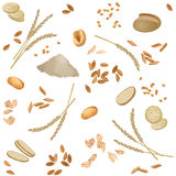 Seamless pattern with spelt foodstuff. There are spelt flour, ears, grains, flakes, buns, bread, grits, pasta and spelt waffles in the pattern Royalty Free Stock Photos