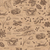 Seamless pattern with spices on a beige background Stock Photos