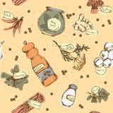 Seamless pattern of spices and herbs Stock Photo