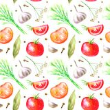 Seamless pattern of a spices and herbs.Vegetables for canning. Picture of a pepper, garlic, tomato, bay leaf, cloves.Ingredients for cooking.Watercolor hand Stock Images
