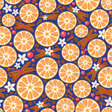 Seamless pattern with spices and oranges Royalty Free Stock Image
