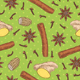 Seamless Pattern with Spices Stock Image