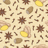 Seamless Pattern with Spices Royalty Free Stock Photo