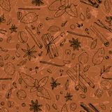 Seamless pattern with spices Stock Images