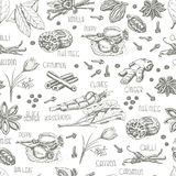 Seamless pattern with spices on a white background Stock Photography