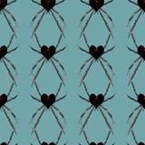 Seamless pattern with spider black heart widow Royalty Free Stock Photography