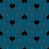 Seamless pattern with spider black heart widow Royalty Free Stock Photo
