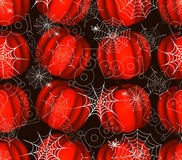Seamless pattern with spider on webs pumpkins Royalty Free Stock Image