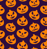 Seamless Pattern with Spooky Pumpkins Stock Photos