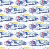 Seamless pattern with sport car. School pattern drawing in the notebook royalty free illustration