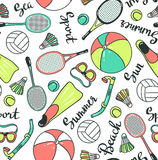 Seamless pattern with sport icons - volleyball, diving, badminton and tennis. Stock Photo