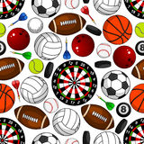 Seamless pattern with sport items Stock Photos