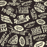 Seamless pattern sport rugby emblem Stock Images