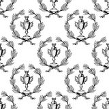 Seamless pattern with sport trophy cups Stock Images