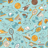 Seamless pattern with  sports equipment. Stock Photography
