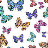 Seamless pattern of spotted beautiful watercolor butterflies. Vector. Royalty Free Stock Photos