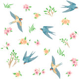 Seamless pattern with spring birds and flowers Stock Image