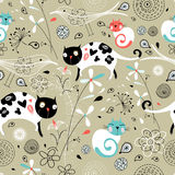 Seamless pattern of spring with cats vector illustration