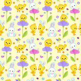 Seamless pattern spring with cute bunny and chicken. Stock Photo