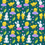 Seamless pattern spring with cute bunny and chicken. Royalty Free Stock Photos