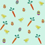 Seamless pattern of spring elements for Easter design. Rabbit, eggs and basket royalty free illustration