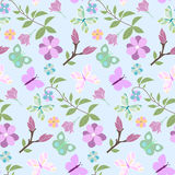 Seamless pattern spring. Seamless floral spring pattern with flowers and butterflies vector illustration