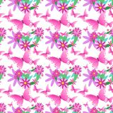Seamless Pattern Spring Flower Ornament Cute Floral Background With Pink Butterfly. Vector Illustration Royalty Free Stock Photography