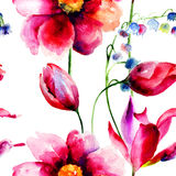 Seamless pattern with spring flowers Royalty Free Stock Photography