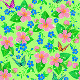 Seamless pattern of spring flowers Royalty Free Stock Photo