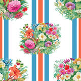 Seamless pattern with spring flowers on grunge striped colorful background Stock Photos