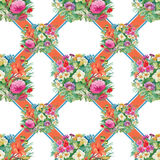 Seamless pattern with spring flowers on grunge striped colorful background Royalty Free Stock Image
