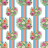 Seamless pattern with spring flowers on grunge striped colorful background Royalty Free Stock Photography
