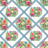 Seamless pattern with spring flowers on grunge striped colorful background Royalty Free Stock Photos