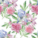 Seamless pattern with spring flowers. Iris. Peony. Clematis. Watercolor. Royalty Free Stock Image