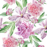 Seamless pattern with spring flowers. Peony. Clematis. Watercolor. Royalty Free Stock Image