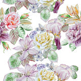 Seamless pattern with spring flowers. Rose. Peony. Lilia. Iris. Clematis. Hyacinth. Watercolor. Stock Photography