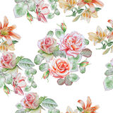 Seamless pattern with spring flowers. Rose. Tulip. Lilia.  Watercolor. Royalty Free Stock Images